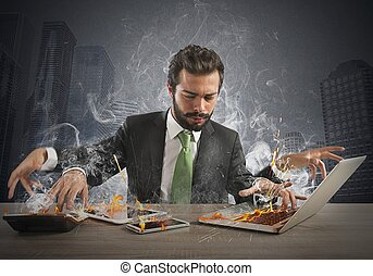 Overworked businessman - Stressed businessman working ...