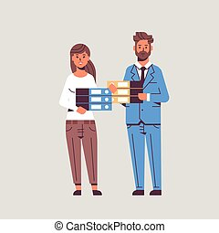 overworked businesspeople man woman holding folder stack...