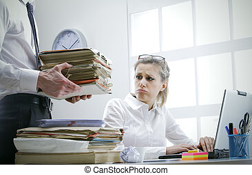 overworked businesswoman - Stressed businesswoman with a too...