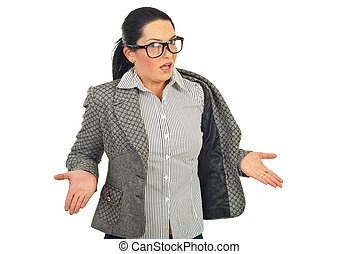 Overworked executive shrugging - Overworked executive woman...