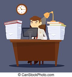 Overworked Man. Exhausted Businessman. Stress at Work. Office Life. Vector illustration
