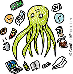 Overworked octopus - Comic illustration of an overworked...