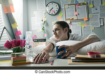 Overworked office worker - Overworked office woman with...