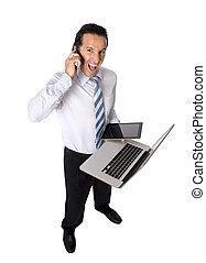 overworked, sênior, homem negócios, multitasking, com, computador, tablete digital, e, telefone móvel, em, tensão