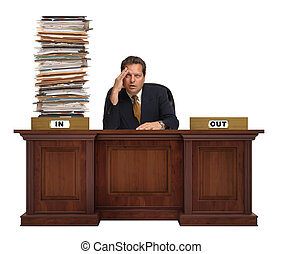 Overworked - an in-box on a corporate deskwith overflowing...
