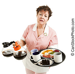 Overworked Waitress - Tired, overworked waitress trying to...