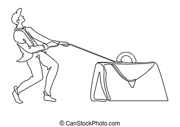 Overworking, businessman dragging heavy briefcase isolated...