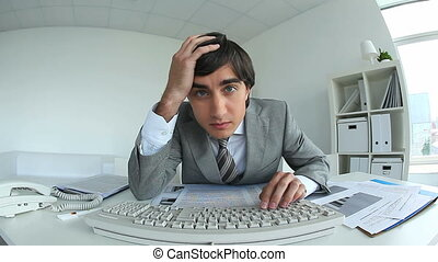 Overworking manager - Video of manager overloaded with work...