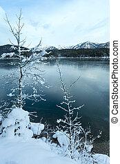 overzicht., eibsee, winter, meer