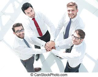 overzicht., handen, hun, zakelijk, samen, team, het putten, bovenzijde