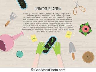 overzicht., handen, stijl, vector, tuin, plat, spotprent, ...