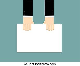 overzicht., mannen, blad, billboard., houdt, tekst, bovenzijde, whiteboard, leeg, paper., maak handen schoon, zakenman, witte , jouw