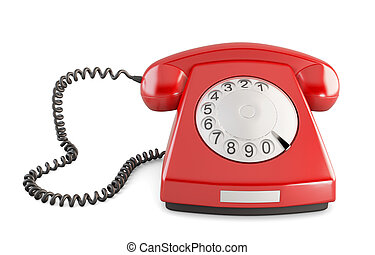 overzicht., ouderwetse , telefoon, vrijstaand, achtergrond., voorkant, 3d., wit rood