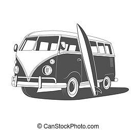 overzicht., retro, reizen, surfboard., bovenkant, bus