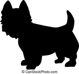 ovest, altopiano, silhouette, terrier