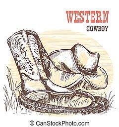 ovest, americano, hat., stivali, cowboy