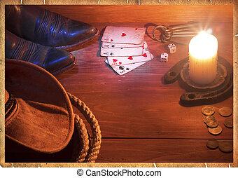 ovest, americano, oggetti, fondo, cowboy