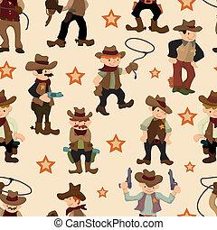 ovest, cowboy, seamless, modello