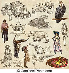 ovest, Indiani,  -, mano, selvatico, disegnato, pacco