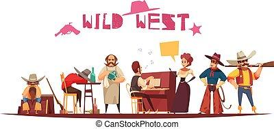 ovest selvaggio, cartone animato, fondo