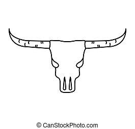 ovest selvaggio, cranio, mucca, icona
