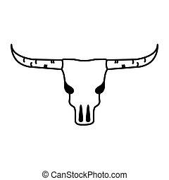 ovest selvaggio, cranio mucca