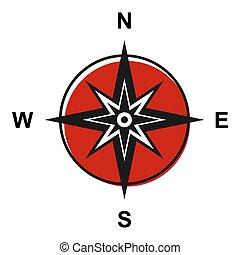 ovest, sfondo bianco, isolato, icona, appartamento, est, sud, bussola, simbolo, nord, moderno