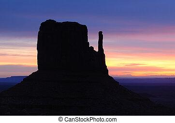 ovest, valle, alba, manopola, monumento