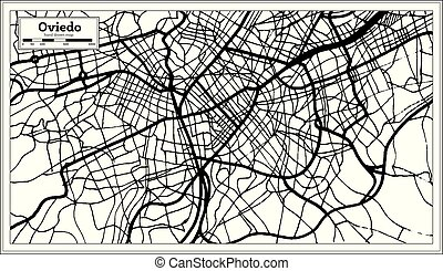 Oviedo Spain City Map in Retro Style. Outline Map. Vector...