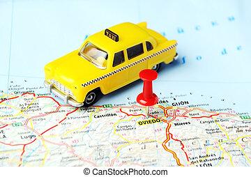 oviedo, taxi, karta