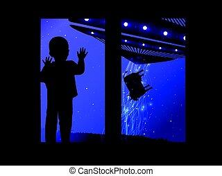 ovnis, espace, regarder, fenêtre, enfant, dehors
