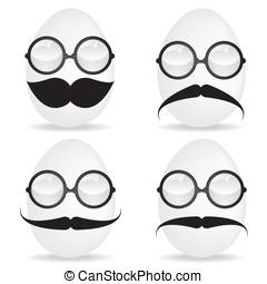 ovo, óculos de sol, bigode
