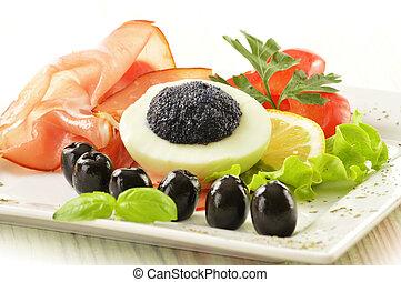 ovo, com, caviar, e, enfeite