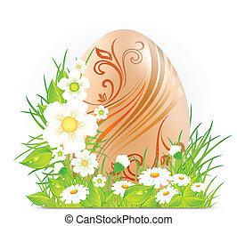 ovo, com, flores, &, capim