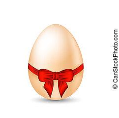 ovo, embrulhando, arco, páscoa, vermelho, celebração