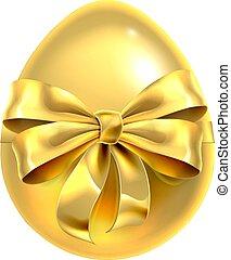 ovo, fita, desenho, arco, dourado, páscoa