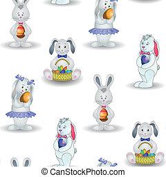 ovo, fundo, coelhos, Páscoa
