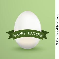 ovo, ilustração, experiência., vetorial, verde branco, fitas, páscoa