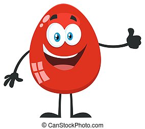 ovo, mostrando, personagem, cima, polegares, páscoa, caricatura, vermelho, mascote