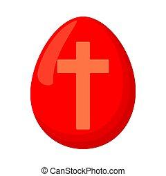 ovo páscoa, caricatura, vermelho