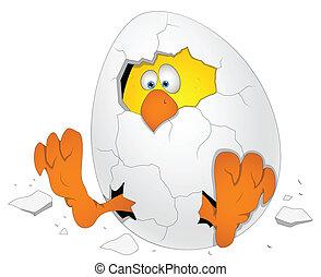 ovo páscoa, com, galinha, caricatura