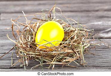 ovo páscoa, em, um, ninho, ligado, madeira, fundo