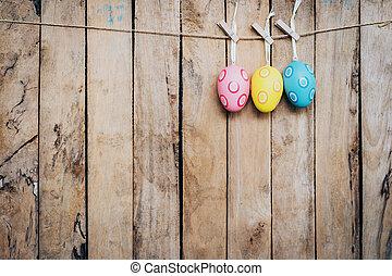 ovo, páscoa, pendurar, madeira, fundo, com, espaço