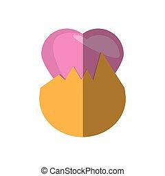 ovo páscoa, surpresa, coração, sombra