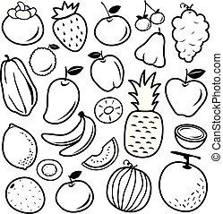 ovoce, ikona, vektor