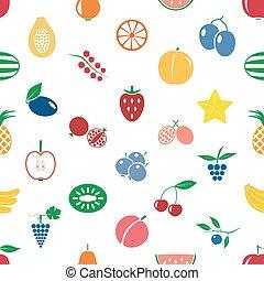 ovoce, námět, barva, jednoduchý ikona, seamless, moderní, model, eps10
