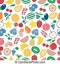 ovoce, námět, barva, jednoduchý ikona, seamless, multicolor, model, eps10