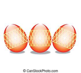 ovos, branca, páscoa, isolado, fundo