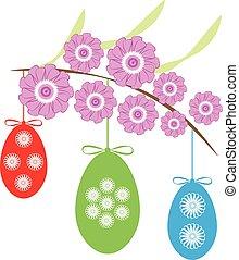 ovos, branca, páscoa, ramo, fundo