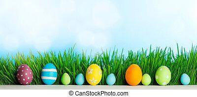 ovos, capim, páscoa, fila